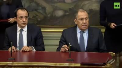 Пресс-конференция Лаврова и главы МИД Кипра