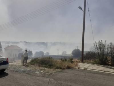 Пожар возле домов в Эпископи, Лимассол (ФОТО)