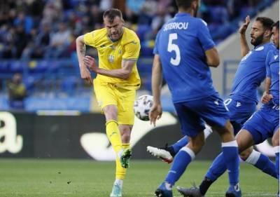 Сборная Украины в форме с картой страны разгромила Кипр 4:0