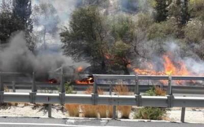 Из-за пожара в Пентакомо эвакуировали жителей и перекрыли шоссе