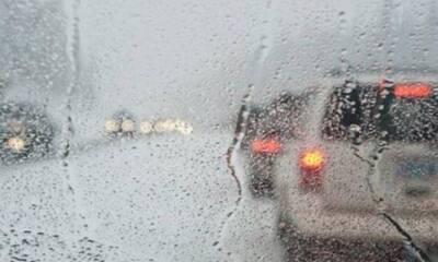 Ограниченная видимость на шоссе из-за сильного дождя